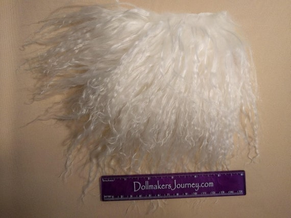 """Tibetan Lamb - Bleach White - 6"""" by  3.5"""" Piece - Beautiful For Doll Hair/Wig on BJD, Art Dolls and All Dolls. T-115"""