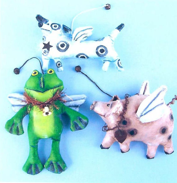 SE949E -  Dog, Frog and Hog , Ornaments Doll/Animal Art Pattern - PDF Download by Susan Barmore