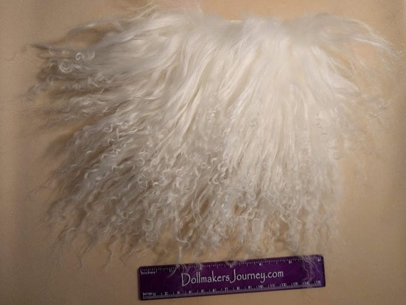 """Tibetan Lamb - Bleach White - 6"""" by  4"""" Piece - Beautiful For Doll Hair/Wig on BJD, Art Dolls and All Dolls. T-119"""