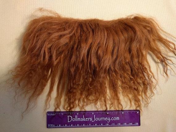 """Tibetan Lamb - Dark Auburn - 4.25"""" by  1.5"""" Piece - Beautiful For Doll Hair/Wig on BJD, Art Dolls and All Dolls. T-89"""