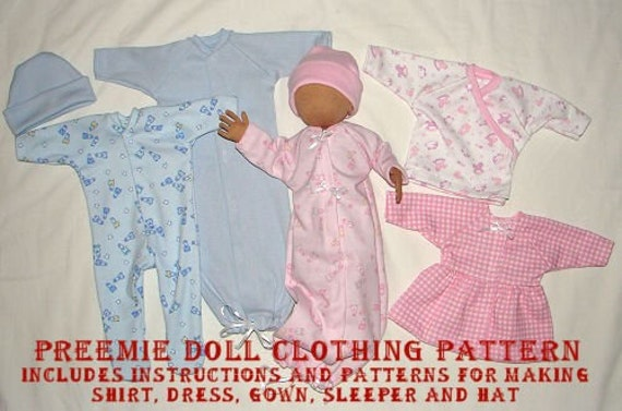 Preemie Doll Clothing Pattern – Cloth Doll Wardrobe Making Sewing Pattern - PDF Download by Sandy Eding
