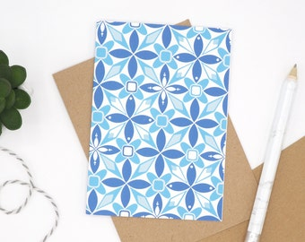 Geometric Patterned Card // Card for any Occasion // Blank Card // Floral Greetings Card // Retro Pattern // Note Card // Thank You Card