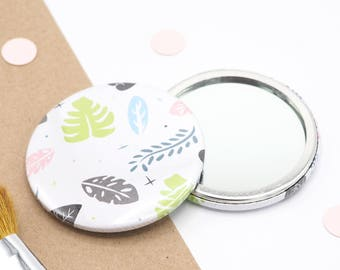 Jungle Pattern Pocket Mirror // Compact Mirror // Mirror for bag //  Round Mirror //  Cute Mirror for Bag // Gift for Her // Jungle Print