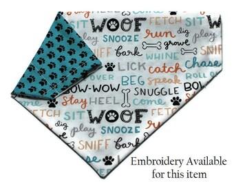 Dog Bandana, Words and Paw Print Dog Bandana, Dog Collar Bandana, Reversible Dog Bandana, Cat Bandana, No Tie Bandana, Embroidered Bandana