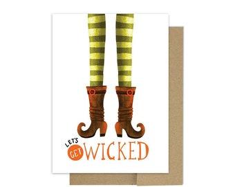 592de15a5 Wicked Halloween Card - Let s get Wicked - Spooky Witch Stockings Card - A6  Blank Card - Seasonal