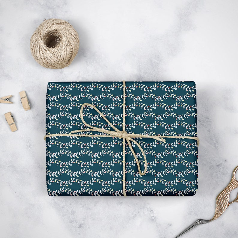 Scallop Gift Wrapping Paper Roll in Navy for him and for her Gender Neutral Holiday Gift Wrap Pack of 3 sheets