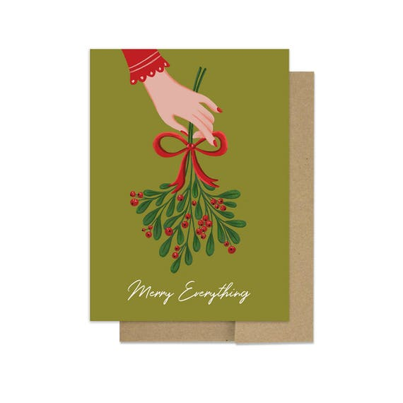 Mistletoe Christmas Card In Green And Red Illustration Etsy