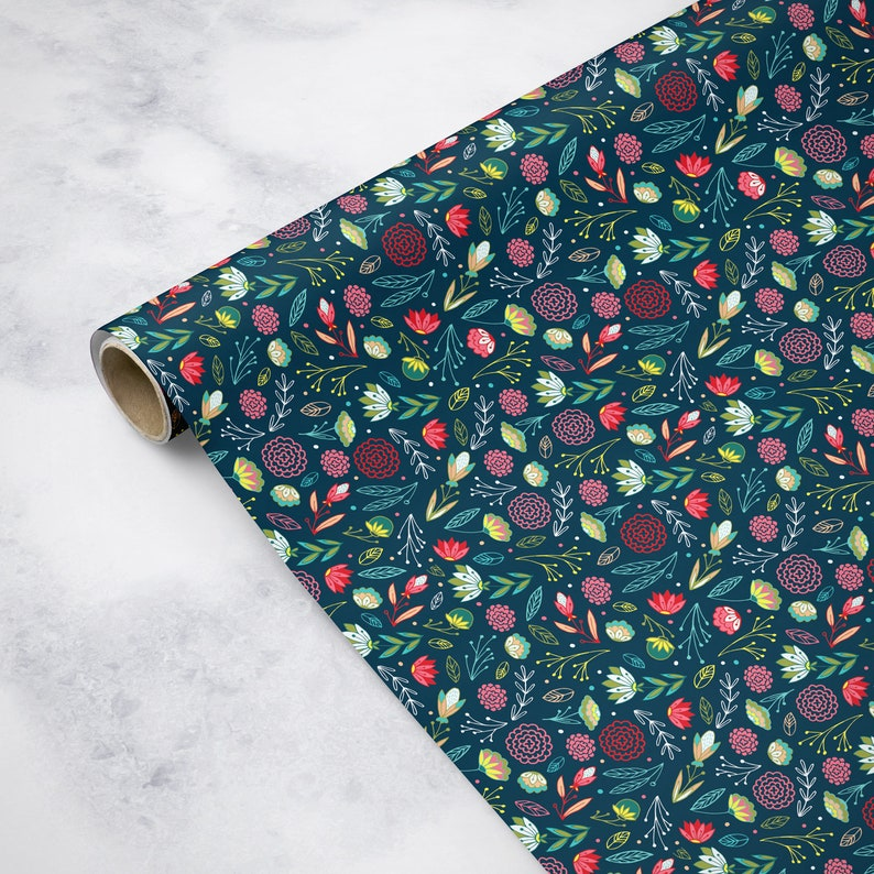 Floral Holiday Wrapping Paper on Dark Blue Background Hand Drawn Flowers Pattern Wrapping Paper Roll Pack of 3 sheets