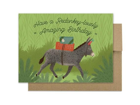 Funny Donkey Birthday Card Redonkeylous Donkey Animal Etsy