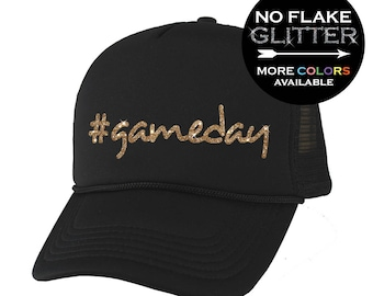 Game Day  gameday Hat GLITTER    Trucker Hat - Football Player - Sports Hat  - Mothers Day - Favorite Player (BD793) 0347c206e5f5
