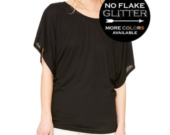 68a0aef9 CUSTOM PERSONALIZED Flowy Dolman Shirt Off Shoulder - Choose from loads of  shirt colors, 15 glitter colors and sizes SM-2XL