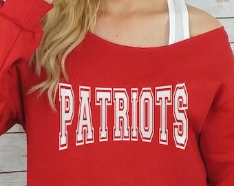 Patriots sweatshirt Off Shoulder Raw Edge    GLITTER    plus size patriots b459c964fe