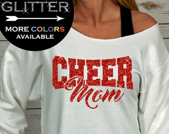 Cheer Mom sweatshirt Off Shoulder Raw Edge GLITTER 6e0a53fae70a