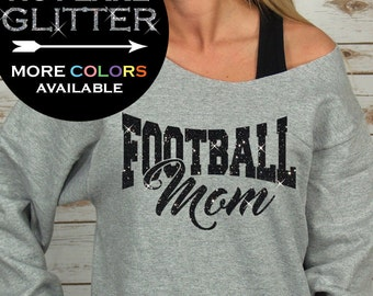 Football Mom Shirts Personalized Glitter - off shoulder sweatshirt - football sweatshirt - football mom tees - Plus Size (BD768)