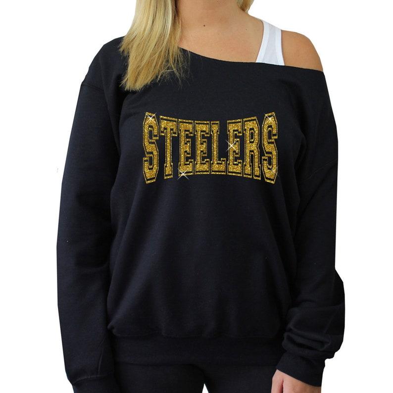 wholesale dealer f2b06 1fc63 Steelers sweatshirt Off Shoulder Raw Edge // GLITTER // Steelers football,  football jersey, plus size, women's Steelers long sleeve