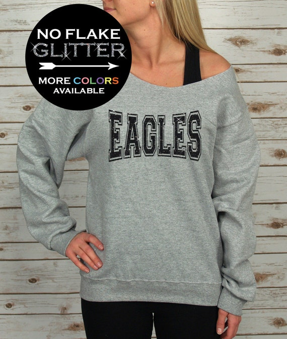 ca8c478fe83 Eagles Off Shoulder Sweatshirt Raw Edge CHOOSE YOUR COLORS