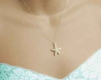 Gold starfish necklace, Beach wedding necklace, Dainty gold starfish necklace, Nautical necklace, Gold Starfish necklace, Beach Wedding N-66