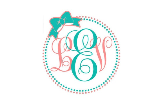 Dots Circle With Bow For Monograms Etsy