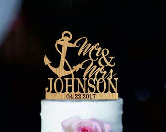 Nautical wedding cake topper with anchor, Mr and Mrs topper anchor,  Personalized anchor cake topper with last name, Beach cake topper
