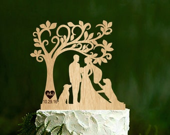 Wedding Cake Topper With two Dogs Silhouette Dog couple silhouette cake topper Rustic Wedding Cake Topper initial cake toppers