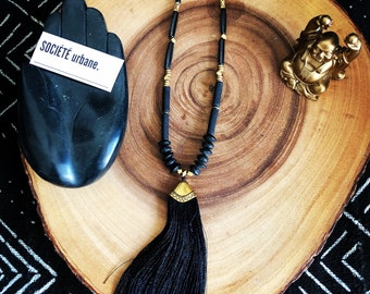 Black Tassel Necklace/Statement Necklace/ Boho Necklace/Tribal/ Boho/ Cool Jewelry by Societe Urbane™ SU019