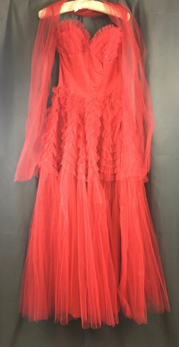 Vintage 1950s Tulle Prom Gown