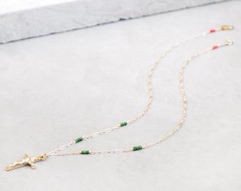 Delicate Gold Crucifix Necklace, Catholic Necklace, Confirmation necklace, Catholic gifts, Women's Crucifix Necklace