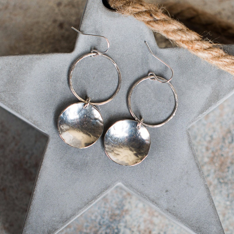 Sterling Silver Disc Textured Drop Earrings Sterling Silver image 0