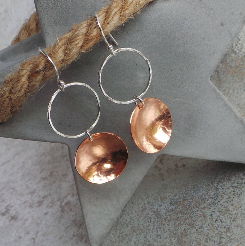 Sterling Silver and Copper Earrings Textured Silver and image 0