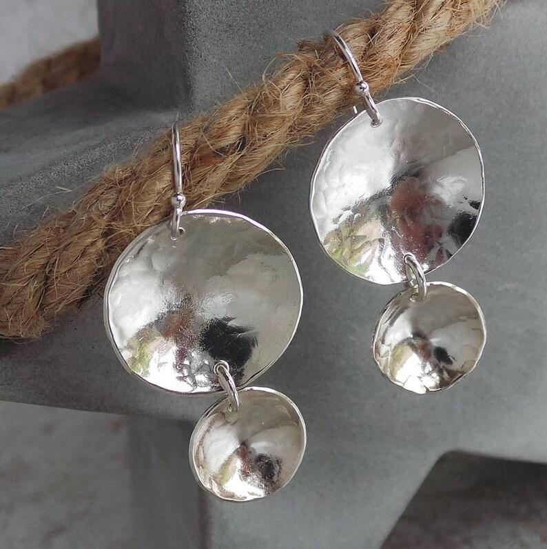 Sterling Silver Earrings Drop Dangle Earrings Textured image 0