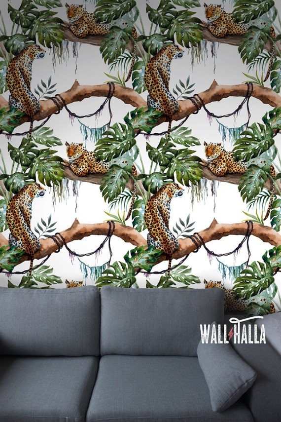 Seamless Self Adhesive Leopard Pattern Wallpaper Removable Vintage Wall Decals Leopard Wall Stickers Jungle Tiger Wallpapers