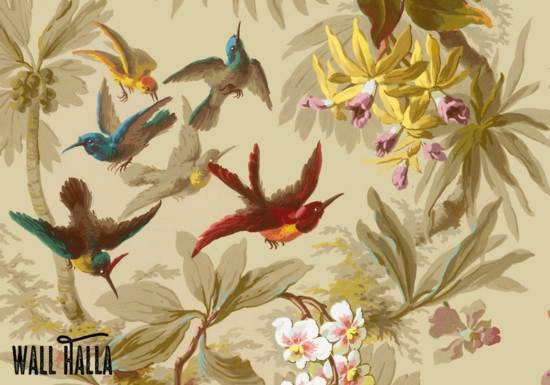 Seamless Vintage Birds and Plants Pattern Wallpaper  Self image 0