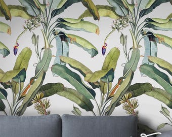 Seamless Self Adhesive Banana Tree Leaf Pattern Wallpaper - Removable Vintage Wall Decals - Banana Tree Leaves Wall Stickers - Wallpapers