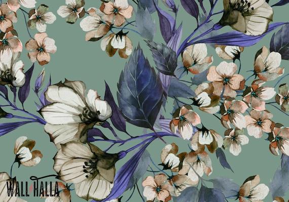 Zelfklevend Vinyl Behang : Blauwe bloem behang verwisselbare wallpaper bloemknoppen etsy