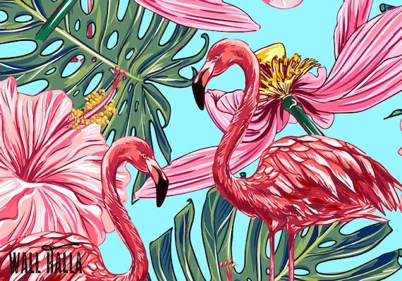 Peel And Stick Tropical Flamingo Wallpaper Self Adhesive Etsy