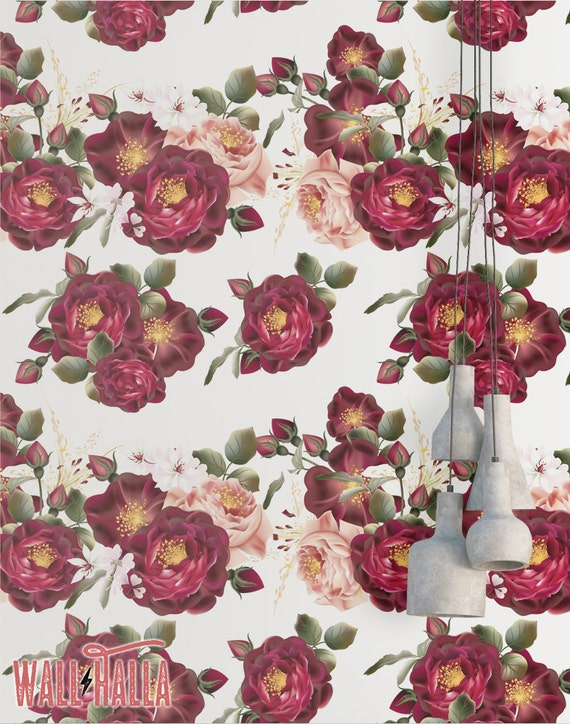 Rose Flower Wallpaper Removable Wallpaper Vintage Red Roses Flower Wallpaper Floral Print Tropical Peel And Stick Wallpaper