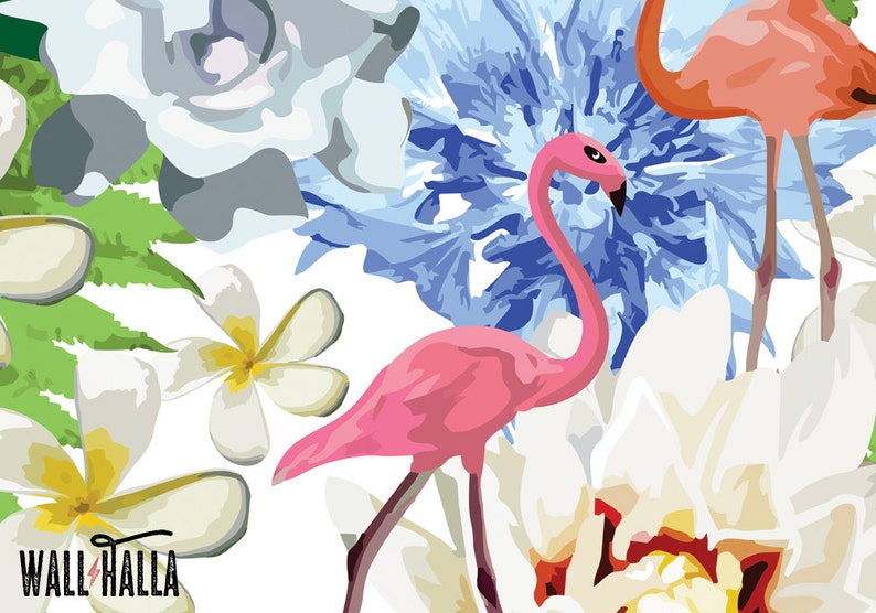 Flamant Rose Fleurs Wallpaper Fond Amovible Flamants Roses Etsy