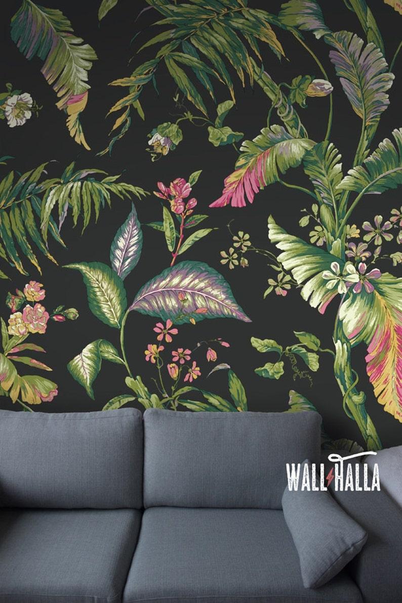 Seamless Self Adhesive Tropical Leaf Garden Pattern Wallpaper image 0