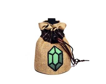 Bag of Rupees. Coin purse. Legend of Zelda. Nintendo. Cosplay Zelda, cosplay Link. Gamer gift. Geek gift. Sac. Videogame, game. Burlap bag.