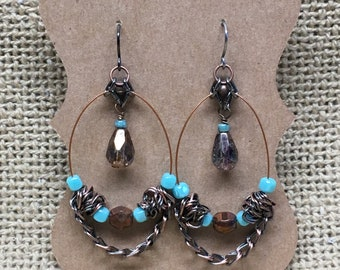 Antiqued Copper, Smoky Crystal and Turquoise Chandelier Earrings
