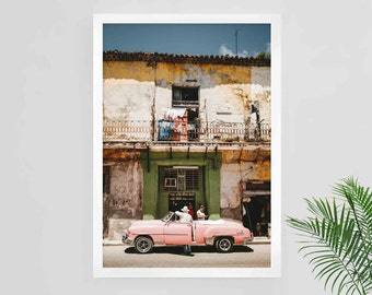 Cuba print, Havana print, Cuba poster, Havana poster, Cuba travel art, Cuba photography, tropical home, traveling poster, old car, Cuba art