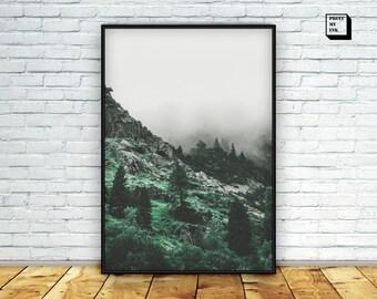 Mountain printable, mountain poster, mountain wall art, mountain print, landscape, mountain photography, digital print, foggy mountain, art