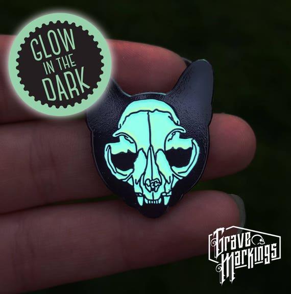 Glow Cat Skull Enamel Pin by Etsy