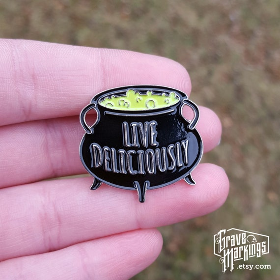 Live Deliciously Enamel Pin by Etsy