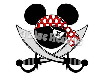 Pirate with Sword bandana Mickey head svg studio dxf pdf jpg png