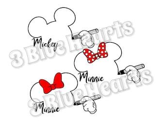 Mickey and Minnie Signature Heads svg studio dxf pdf jpg