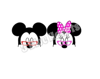 Mickey and Minnie with Glasses SVG dxf Studio, Mickey with Glasses, Minnie with Glasses, Grandparent Mickey and Minnie SVG dxf Studio