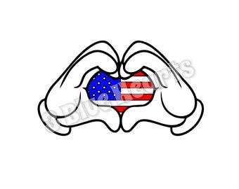 Mickey Hands SVg dxf pdf Studio, American Flag SvG dxf pdf Studio, Mickey Loves America SVG dxf pdf Studio, DIsney svg dxf pdf studio