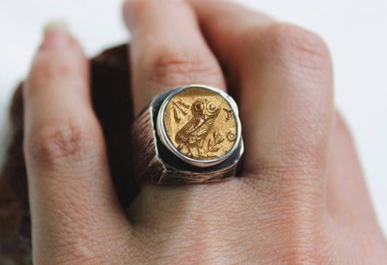 Silver Men Ring-Silver Women Ring Men Ring Owl of Athena wisdom Men Silver Coin Ring Silver Ring Women Ring Ancient Coin Ring