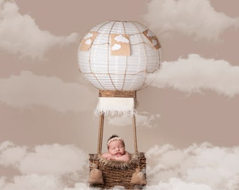 Newborn digital backdrop, Digital Backdrops/Props (Newborn Hot Air Balloon Prop with Cream, Blue Backgrounds with Clouds) 4 Digital download